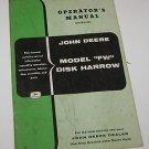 John Deere Operators Manual 207 Model FW Disk Harrow