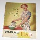 Vintage Hamilton Beach Mixette Recipe & Instruction booklet