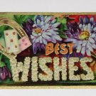 """Vintage Postcard  """"Best Wishes"""" Horseshoe Dice and Flowers"""