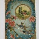 "Vintage Postcard  ""Hearty Greetings"" Rural Scene & Bluebirds"
