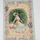 "Vintage Postcard  ""Love Greetings"" Girl With Umbrella Picking Flowers"