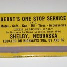 Vintage Matchbook Ad Bernt's One Stop Service Shelby Nebraska