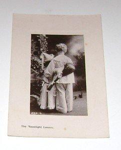 "Vintage Postcard ""Moonlight Lovers"" little boy & girl holding each other"