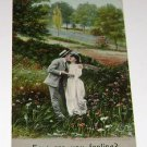 """Vintage Postcard """" How Are You Feeling"""" Man Kissing Woman in Meadows"""