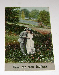 "Vintage Postcard "" How Are You Feeling"" Man Kissing Woman in Meadows"