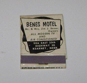 Vintage Matchbook Ad Benes Motel Kearney Nebraska