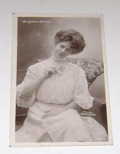 """Vintage Postcard """"My Queen of Hearts"""" Woman holding Queen card"""