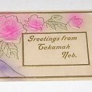 "Vintage Postcard ""Greetings From Tekamah"" Pink Flowers Roses"
