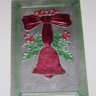 Vintage Christmas Postcard Red Bell With Mistletoe
