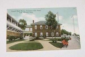 Vintage Postcard Council Bluffs Rowing Club House Lake Manawa IA 1909