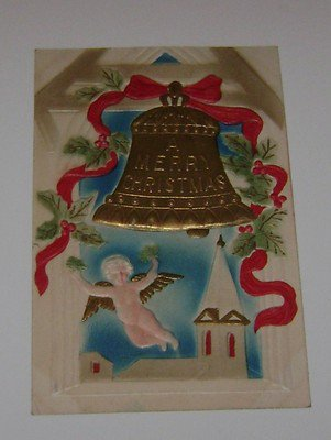 Vintage Christmas Postcard Bell & Angel flying over Chapel 1908