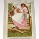 "Vintage Postcard Man Woman on picket fence ""Sweetest Story Ever Told"" 1908 Color"