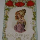 """Vintage Postcard """"With Fondest Lover""""  Valentine early 1900's"""