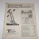 Scott Level Lift 2000 Tafco Instructions & Parts List