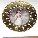 "Vintage ""Girl Wearing Bonnet"" Copper framed circular art print made in England"