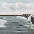Vintage Postcard Breakers at Marinette WI & Menominee MI 1909