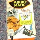 Vintage Mirro-Matic Electric Frypan Instruction & Recipe Brochure