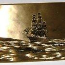 Art Print Sail Ship in a copper bronze hued color