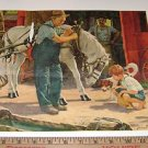 "James Bama Print ""Little boy looking at shoed horse"""