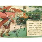 "Vintage Postcard Driver Anchoring Antique Car ""Comedy Card"" 1913"