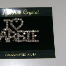 "Austrian Crystal 'I ""Heart"" BARBIE' Brooch Handcrafted USA"