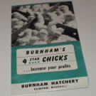 Burnham's 4 star Chicks Burnham Hatchery Clinton Missouri Mailer Ad 1952