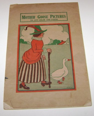 1927 MOTHER GOOSE PICTURES BOOK TO CUT COLOR AND PASTE TEACHERS BOOK 1927