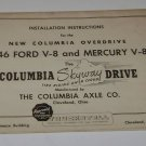 Installation Instructions 1946 Ford V-8 & Mercury Columbia Axle Co