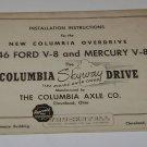 Installation Instructionsn 1946 Ford V-8 & Mercury Columbia Axle Co