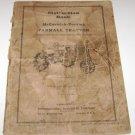 Vintage Instruction Book McCormick Deering Farmall Tractor