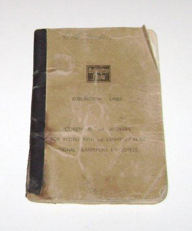 Burlington Railroad Instruction & Examination Signal Dept Employees 1932