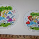 (2) Red Riding Hood & Wolf Metal Plates/Trays