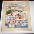 HARBOR SCENE  Print by Artist Erin Dertner w/ Wooden Frame