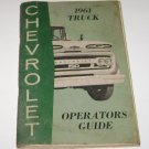 CHEVROLET 1961 TRUCK OPERATORS GUIDE BOOK