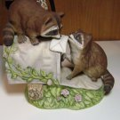 """Homco Masterpiece Porcelain Racoon Figurine #1197  """"Love Letters"""" 1987"""