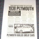 Vintage Magazine Ad 1938 Plymouth