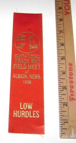 "HIgh School Ribbon Track Award ""Low Hurdles"" Albion Nebraska 1938"