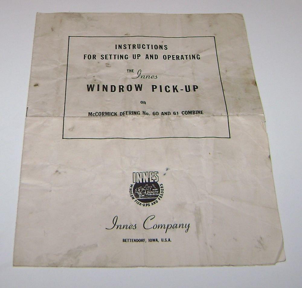 Instructions Innes Windrow Pick-Up McCormick Deering 60 61 Combine