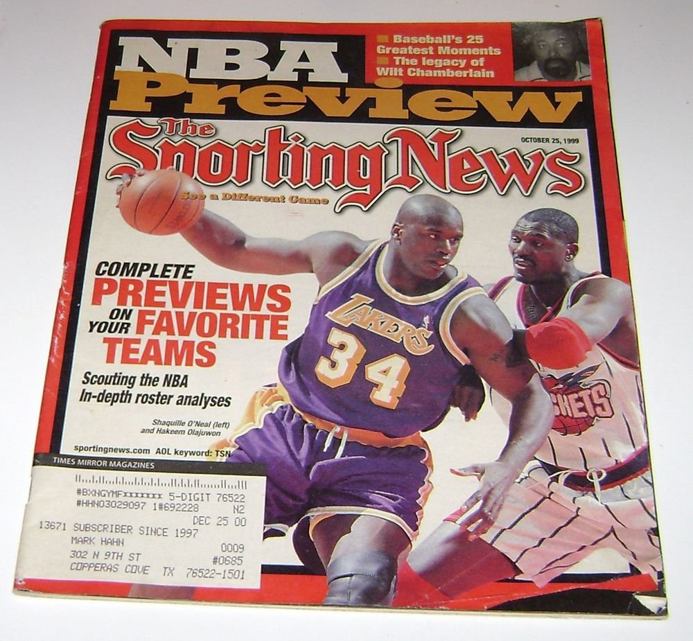 Sporting News Magazine NBA Preview october 25 1999 Shaquille ONeal & Olaquwon cover