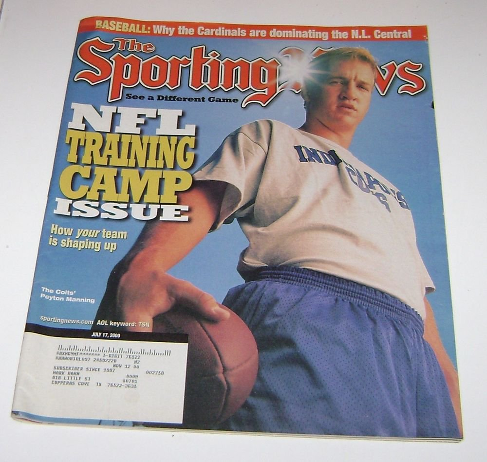 Sporting News Magazine NFL Training Camp Peyton Manning Cover 2000