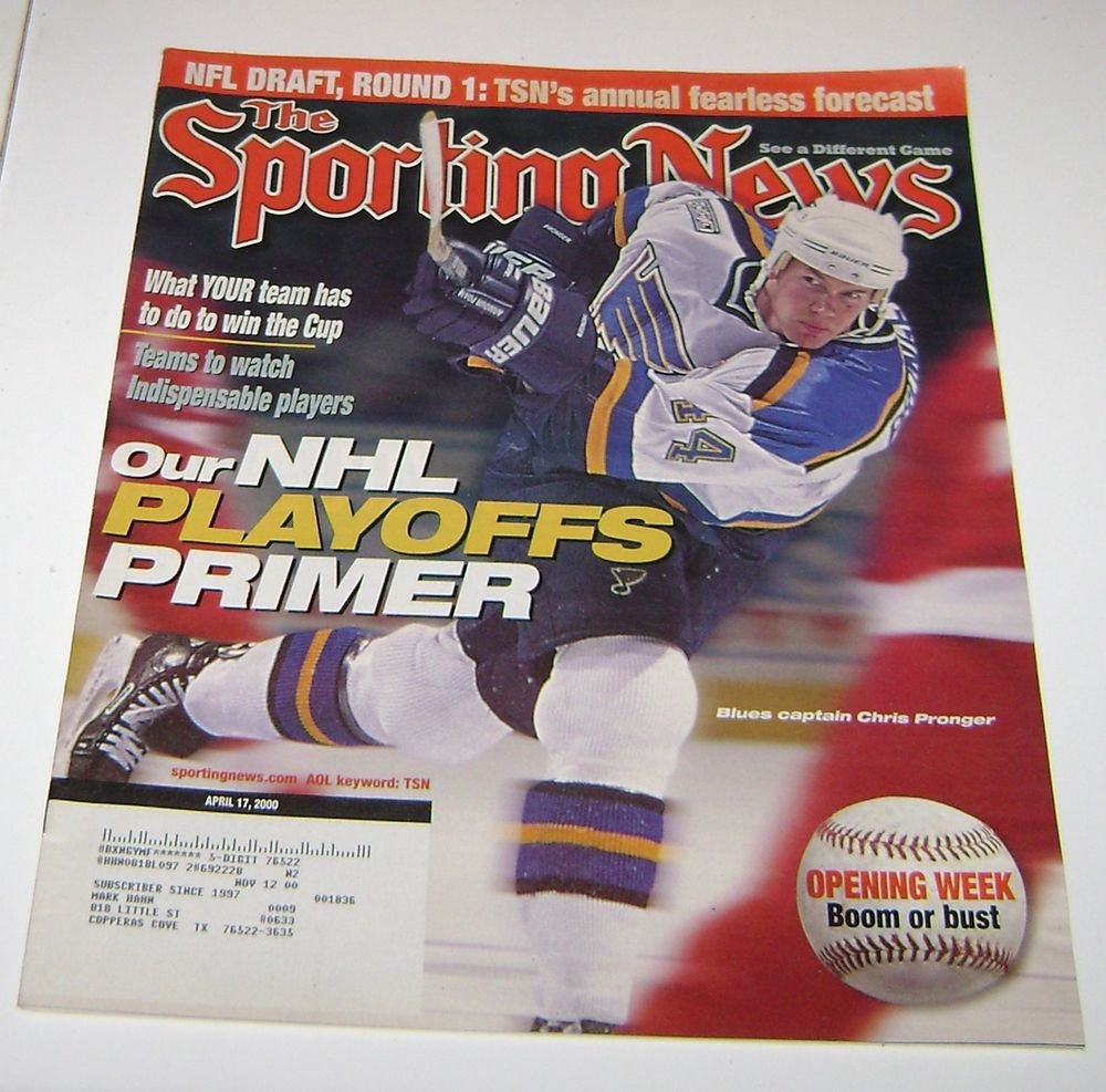 Sporting News Magazine NHL Playoff Primer Chris Pronger Cover 2000