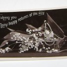 Vintage Postcard Wishing You Many Happy Returns Of The Day B&W Floral