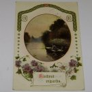 "Vintage Postcard ""Kindest Regards"" Man Fishing in Rowboat"