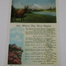 "Vintage Postcard ""Out where the West begins"" poem Elk by Lake"