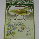 """Vintage Postcard """"Thinking of You"""" Green Motif Rural Home by Lake or Pond"""
