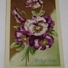 Vintage Postcard Hearty Greetings Purple Flower Petals PM'd 1910