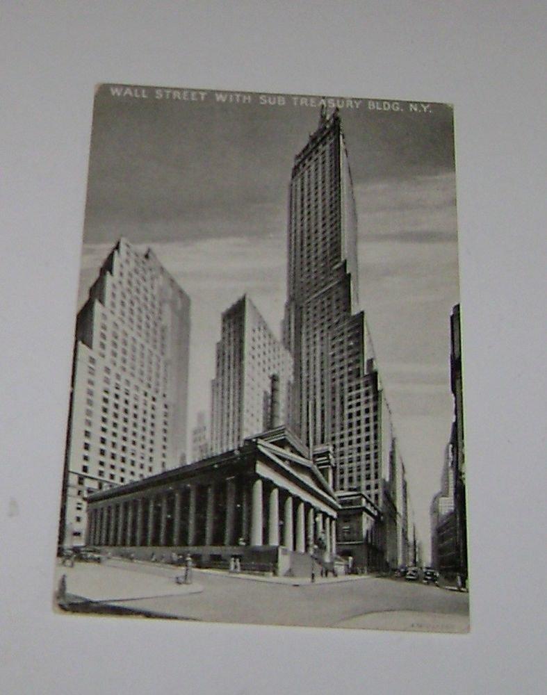 "Vintage Postcard ""Wall Street W/ Sub Treasury BLDG"" New York City"