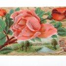 """Vintage Postcard """"Best Wishes"""" Red Roses over Rural Scene"""