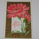 "Vintage Postcard ""Best Wishes"" Red Flowers"