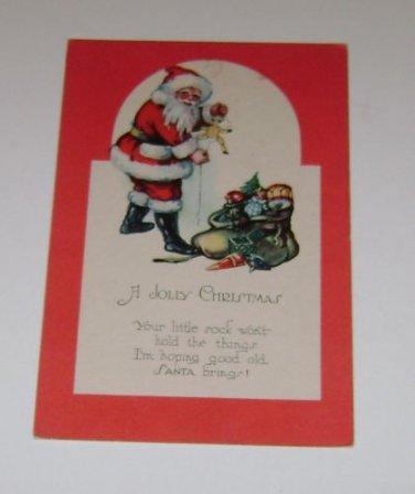 "Vintage Postcard  ""A Jolly Christmas"" Santa"